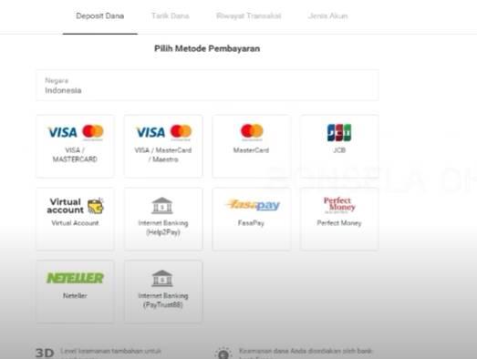 Pilih Metode Pembayaran dan Tentukan Jumlah Deposit