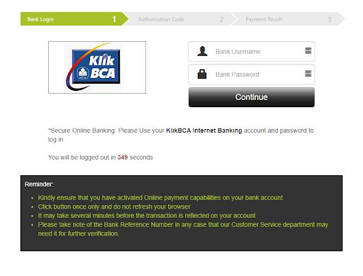 halaman login Klik BCA