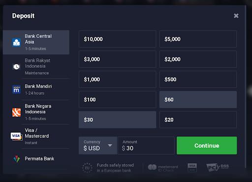 pilih menu DepositSetoran Pada IQ Option website