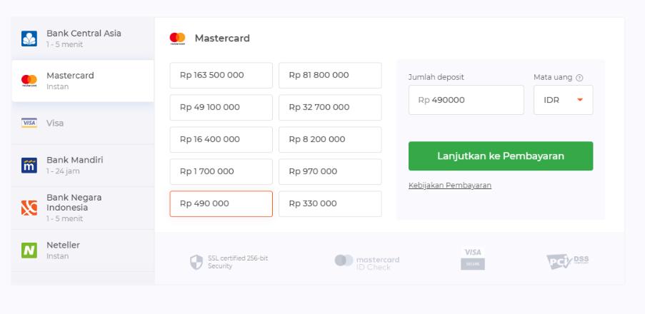 setor iq option dengan kartu ATM Mastercard atau Visa